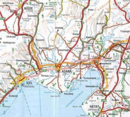 Адана на карте Турции добраться до Аданы