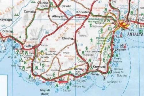 Город Каш на карте Турции