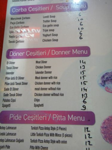 сколько стоит поесть в Кызкалеси Kizkalesi