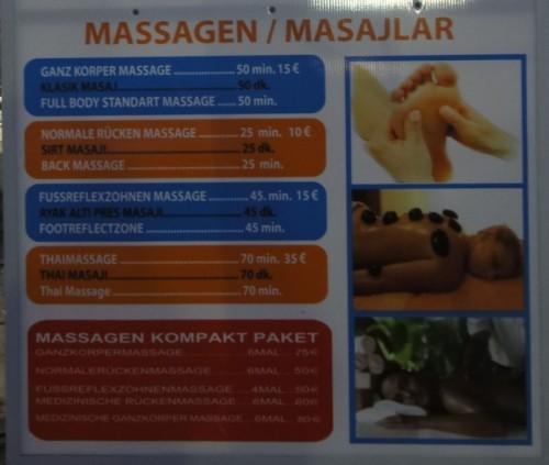 цены на массаж в Кызкалеси Kizkalesi