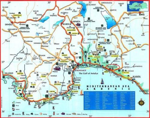 Манавгат на карте Турции