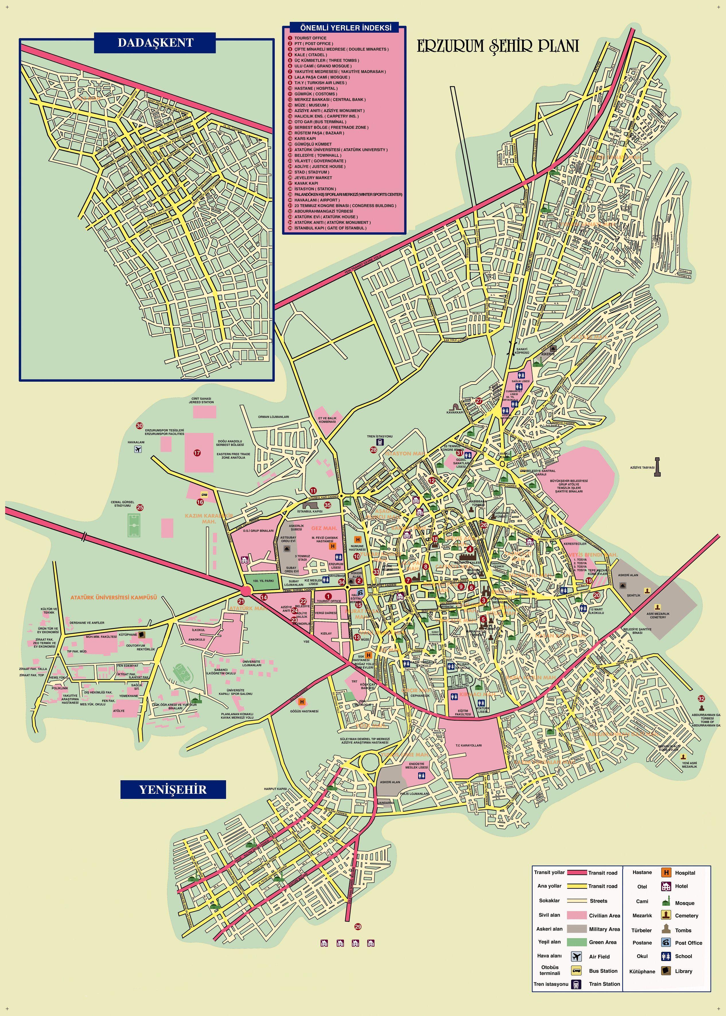 карта Эрзурум