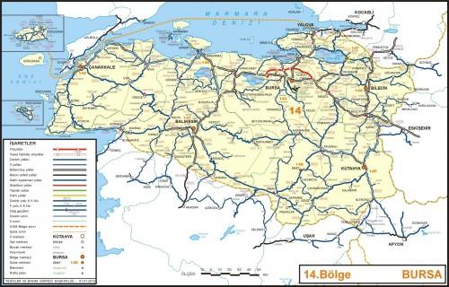 Бурса иль на карте районов Турции