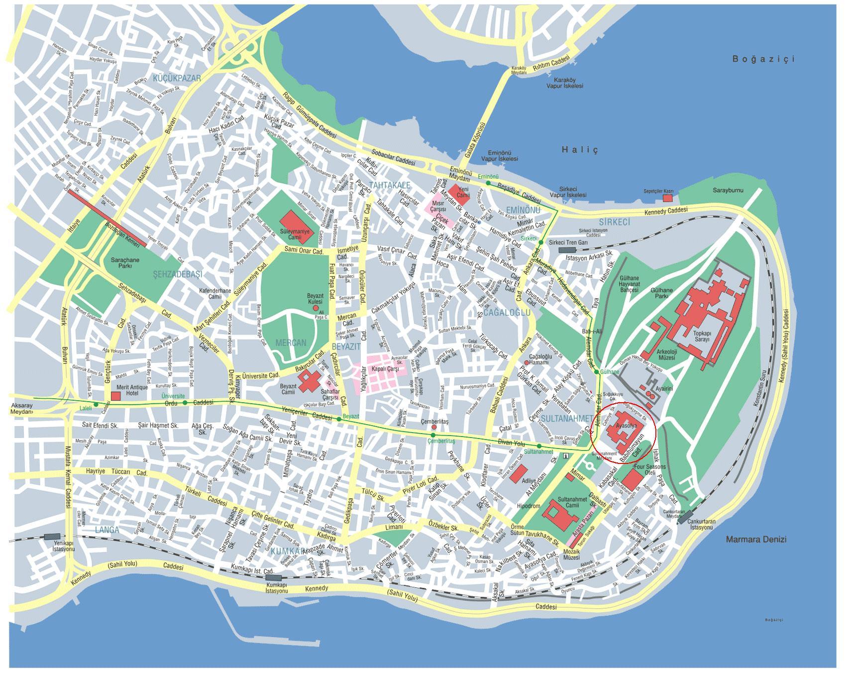 Святая София на карте Стамбула