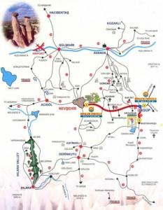 Основные города Каппадокии на карте