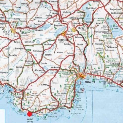 пляж Капуташ на карте Турции