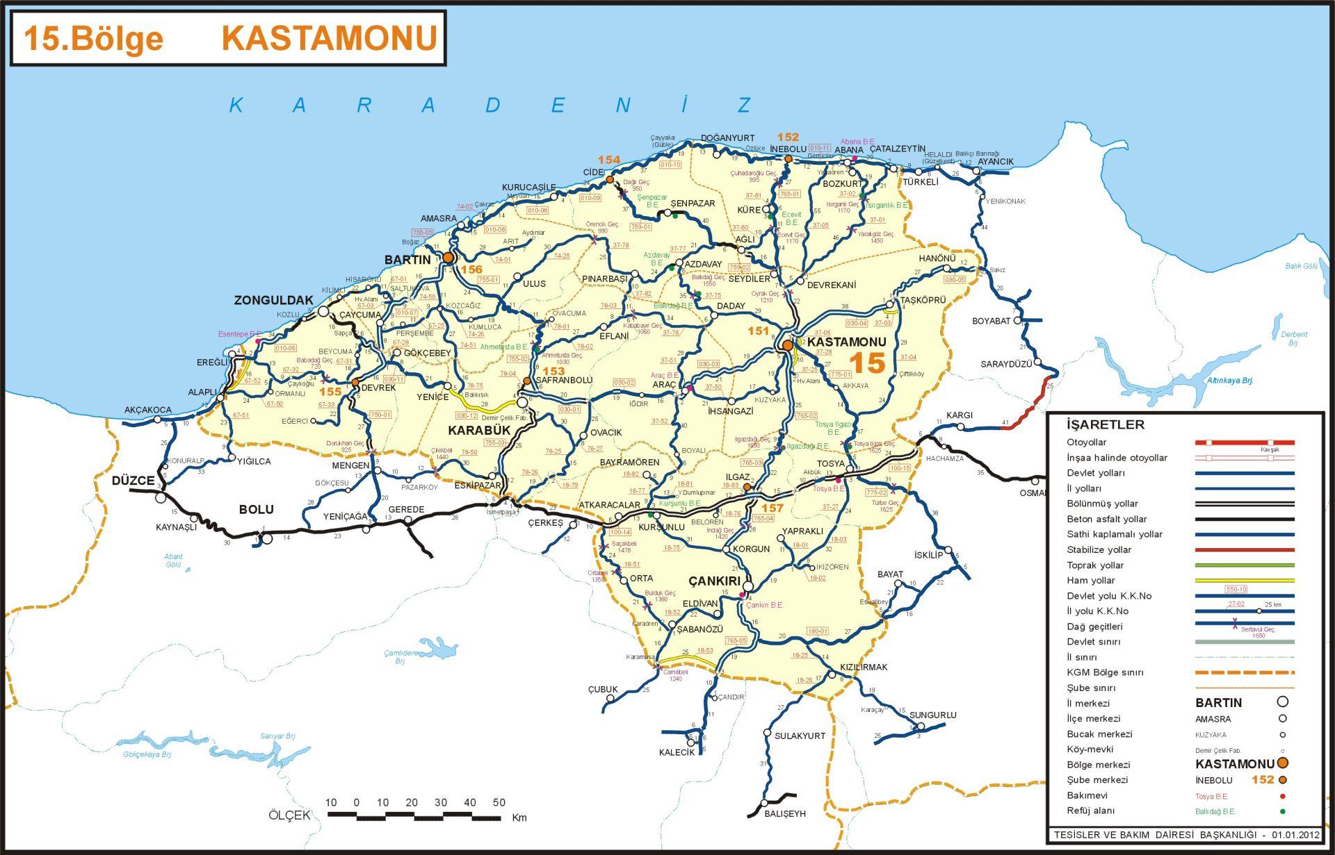 иль кастамону на карте регионов Турции