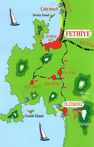 Олюдениз на карте Турции