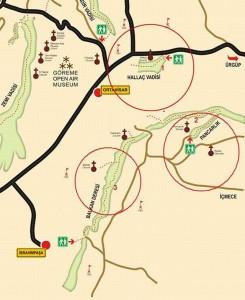 карта долин Ортахисара Каппадокия