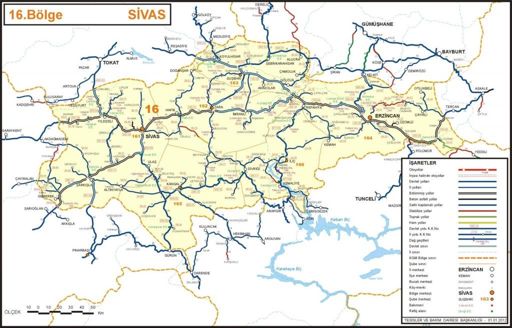 Иль район Сивас на карте Турции