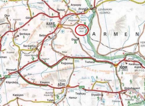 Ани на карте Турции