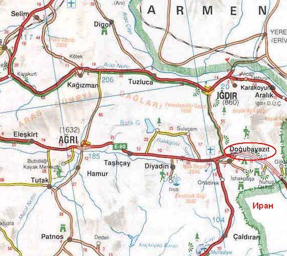Догубаязыт на карте Турции