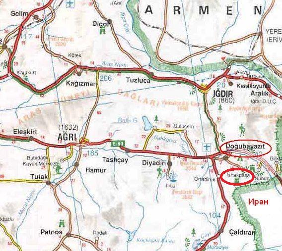 Дворец Исхак Паша на карте Турции