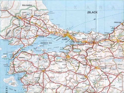 Карта Турции р районе Мраморного моря