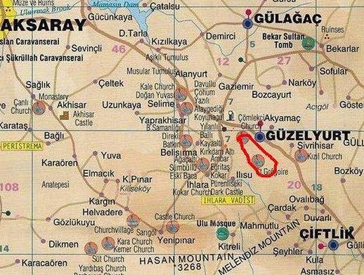 Монастырская долина на карте Каппадокия Турция
