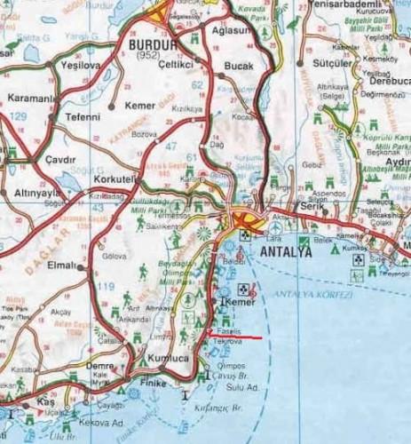 где находится Фазелис на карте Турции