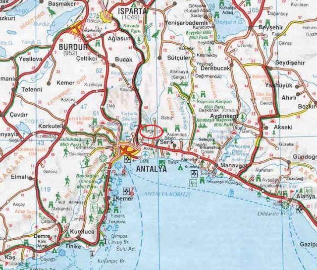 Где находится Перге на карте Турции