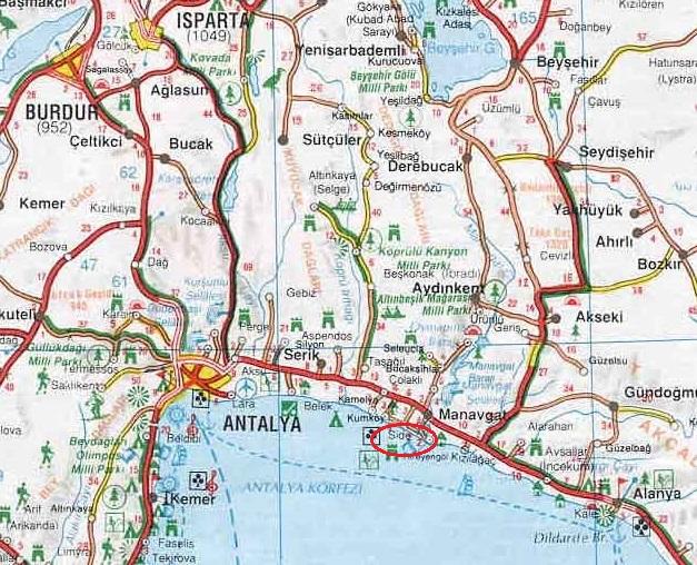 где находится Сиде на карте Турции side