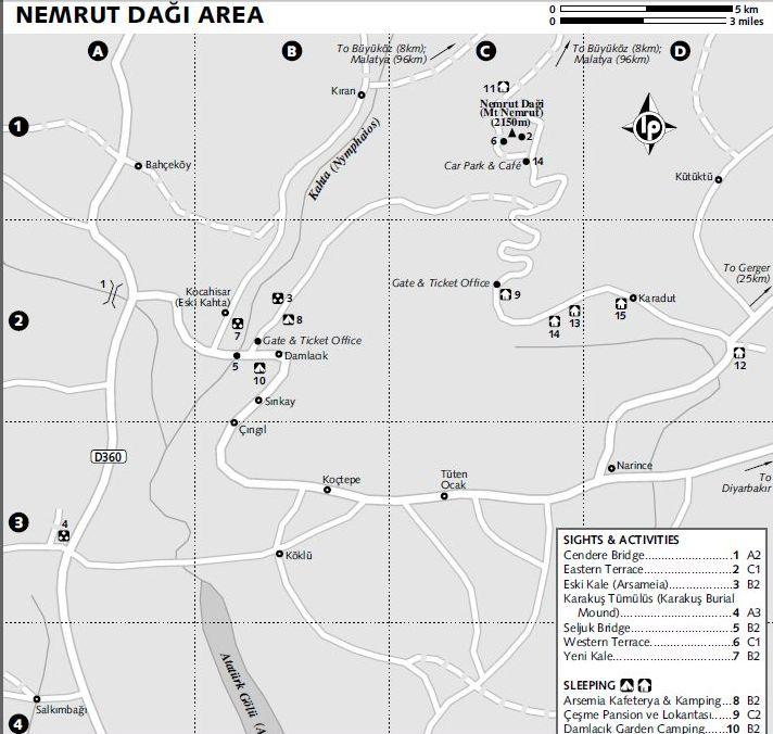 Карта окрестностей Немрут дага Арсамея, Каракуш Йени кале