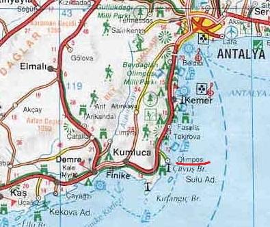 Олимпос и Чиралы на карте Турции
