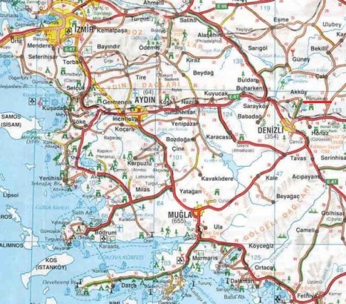 Памуккале Денизли Иераполис на карте Турции