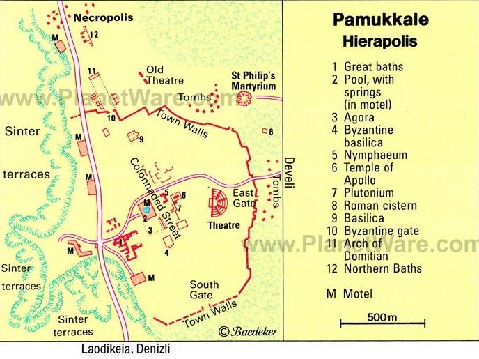 Карта Памуккале и Иераполис