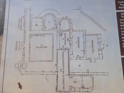 план комплекса южных бань в Перге