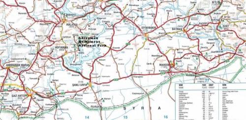 Карта юго-восточного региона Турции