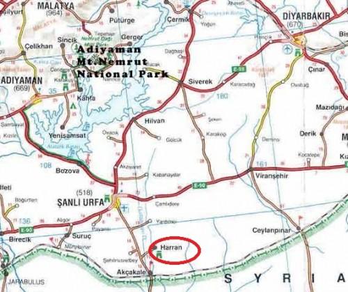 Харран на карте Турции
