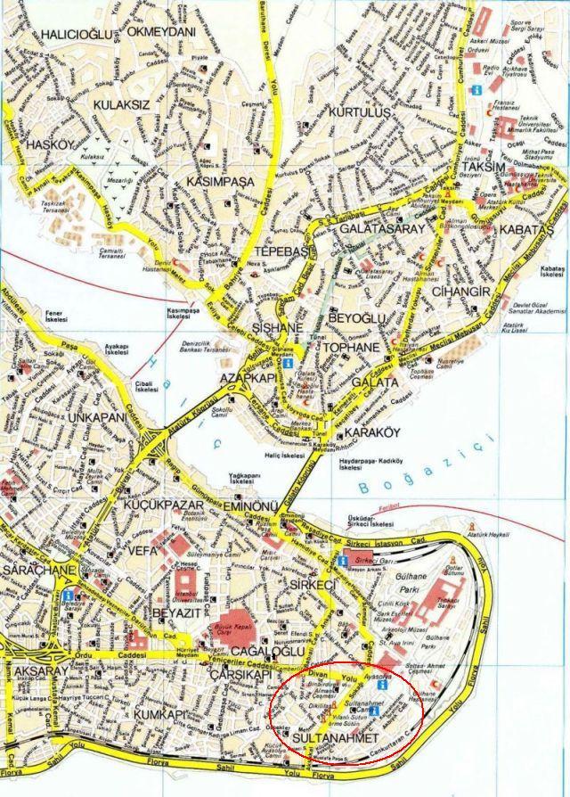 Султанахмет на карте Стамбула