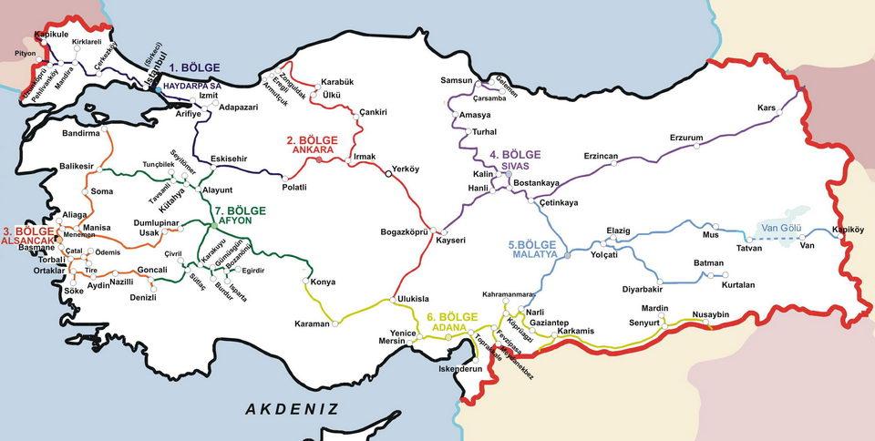 карта железной дороги Турции