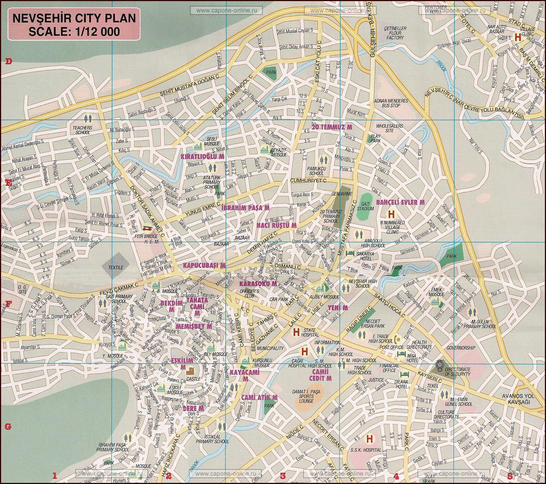 карта города Невшехир Каппадокия Турция