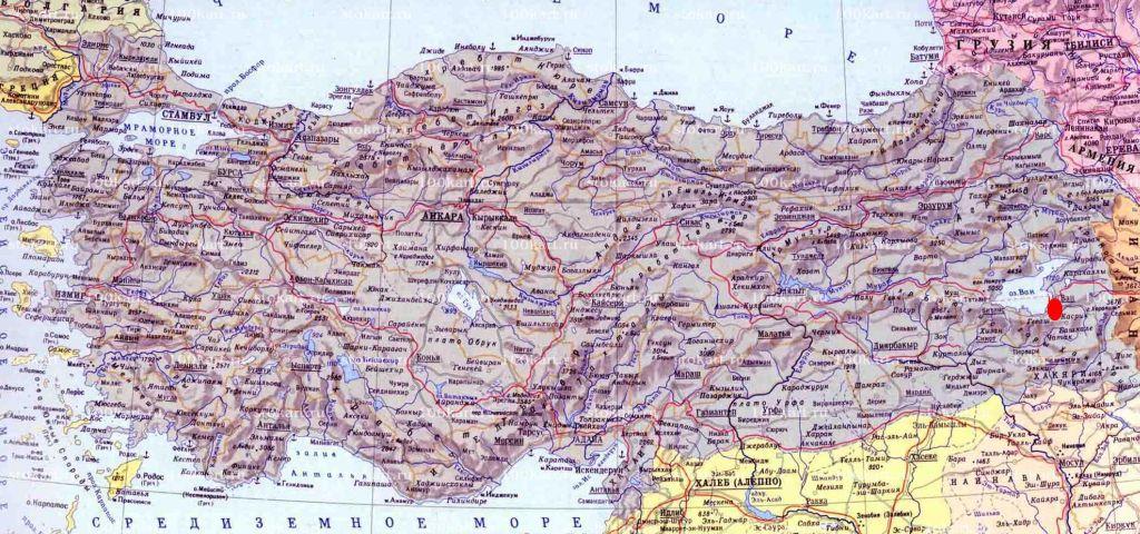 город Ван на карте Турции