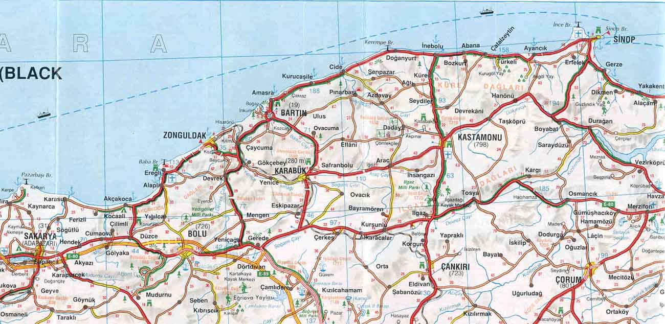 Карта черноморского побережья Турции