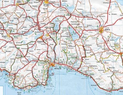 Карта региона Средиземного моря Турции запад