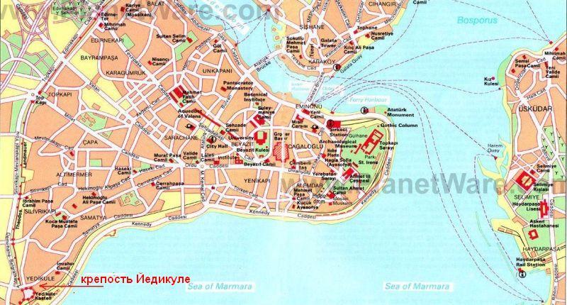 крепость Йедикуле Едикуле на карте Стамбула